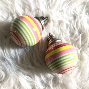 Pottery Barn Striped Finials Pink Green Yellow